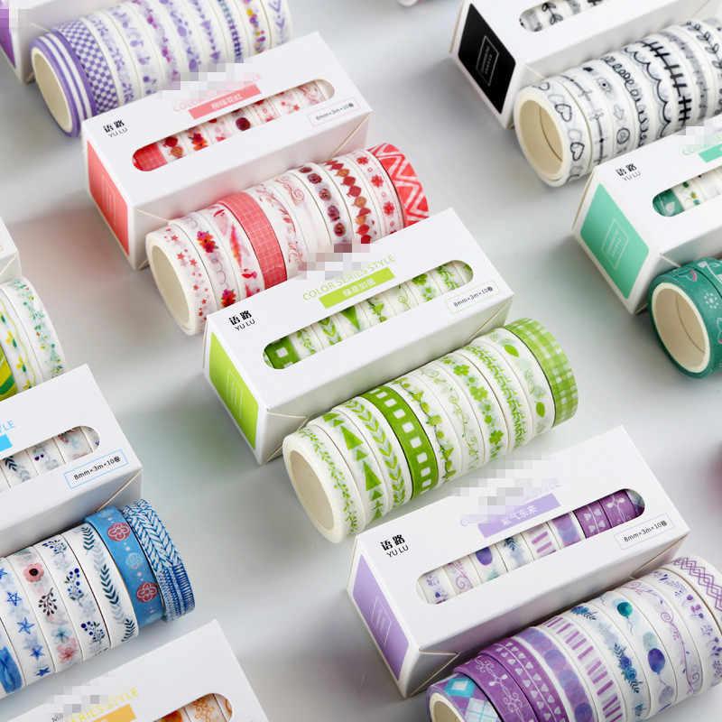 Lote de 10 unidades de cuadrícula Floral con hojas de momm, Lindo juego de cintas adhesivas de papel, papelería japonesa, suministros para álbumes de recortes