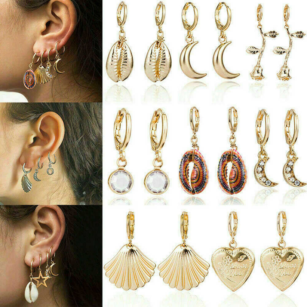 Shell Statement Metal Earrings Fashion Gold Hoop Boho Drop Dangle Earrings NEW Heart Star Snowflake Trepadores Oreja For Women
