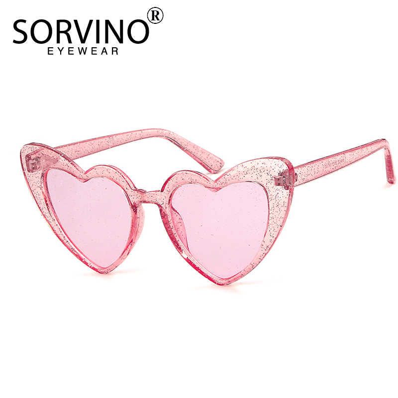 Women Sunglasses Love Heart Glasses Glitter Lenses Classic Sun Glass Eyewear Kit