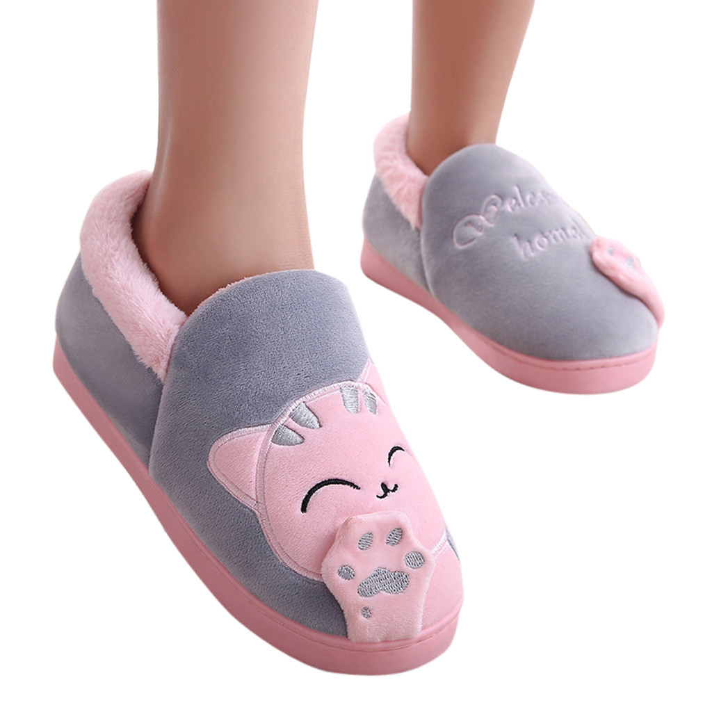 Easyflower Available Perfect Winter Cotton Slippers Womens Indoor Thick Bottom Non-Slip Couple Home Home Warm Cute Plush Cotton Slippers Color : Brown, Size : 1