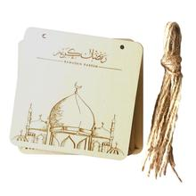 5PCS Wooden Ornaments Muslim Islamic Palace Eid DIY LED Decorative Suppliers Crafts for Home