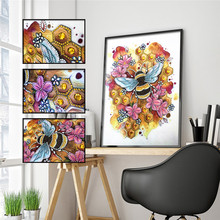 5D DIY Diamond Painting Special Shape Bee Beauty Flower Embroidery Sticker Mosaic Decoration