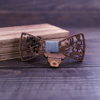 Next Boy's Carved Flowers Wooden Bow Tie 6