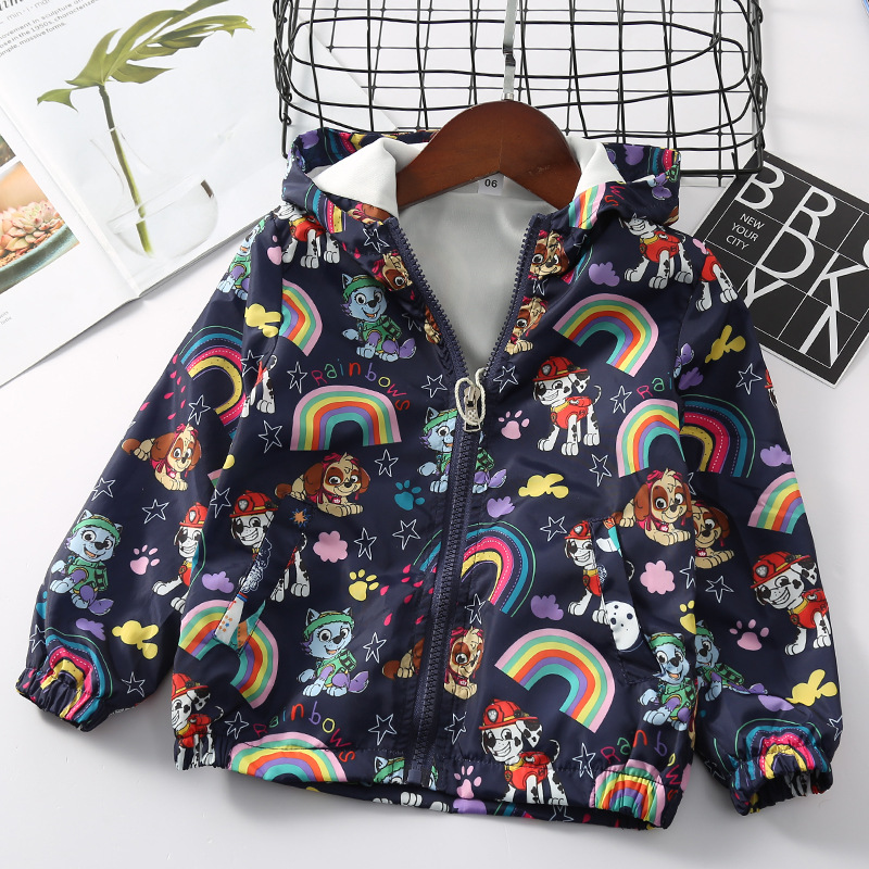 Jlg11 Cartoon Rainbow Dog Full Printed CHILDREN'S Jacket Spring Children Casual Zipper Hoodle