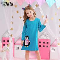 VIKITA-vestidos de algodón para niñas de 3 a 8 años, ropa informal de fiesta con apliques de animales y pingüino para Otoño e Invierno