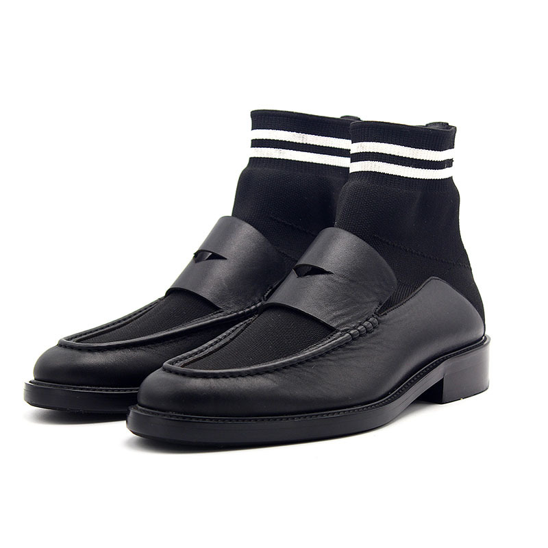Autumn Winter New Socks Boots Men Slip On Stretch Knit Stitching Booties Man Cow Leather England Mens Footwear Mid Heel 3CM 45