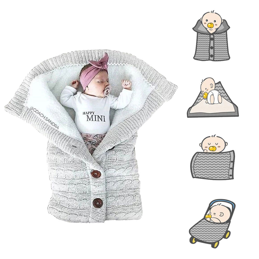 HereNice Baby Envelope Shape Sleeping Bags For Kids Infant Button Knit Wool Swaddle Wrap Swaddling Stroller Toddler Blanket