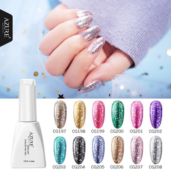 Azure Beauty Holographic Glitter Platinum UV nail gel Set Manicure Soak Off UV Gel Polish Lacquer Super Shining Nail Art Varnish lilycute rose gold uv gel polish glitter sequins nail polish soak off shining uv gel polish nail art gel for christams gifts