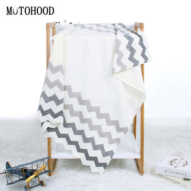 MOTOHOOD Newborn Baby Blanket Knitted Swaddle Wrap Soft Toddler Sofa Crib Bedding Quilt Kids Stuff For Monthly Toddler Bedding