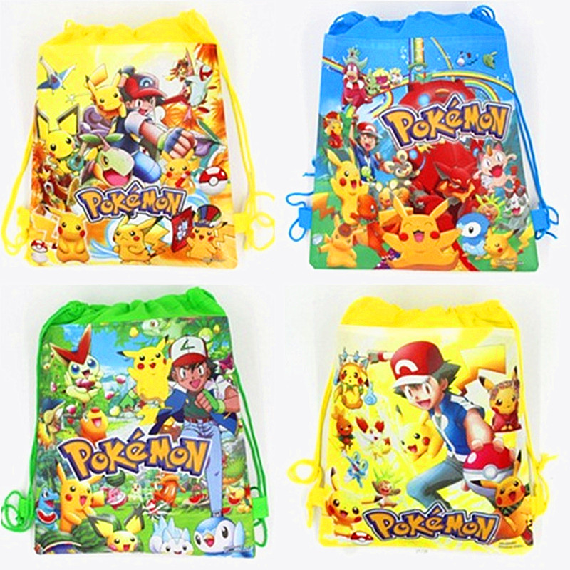 12pcs/lot Pokemon Go Drawstring Backpack Non-Woven Fabric Loot Bag Gift Bag Pikachu Party For Kids Girl Birthday Decoration
