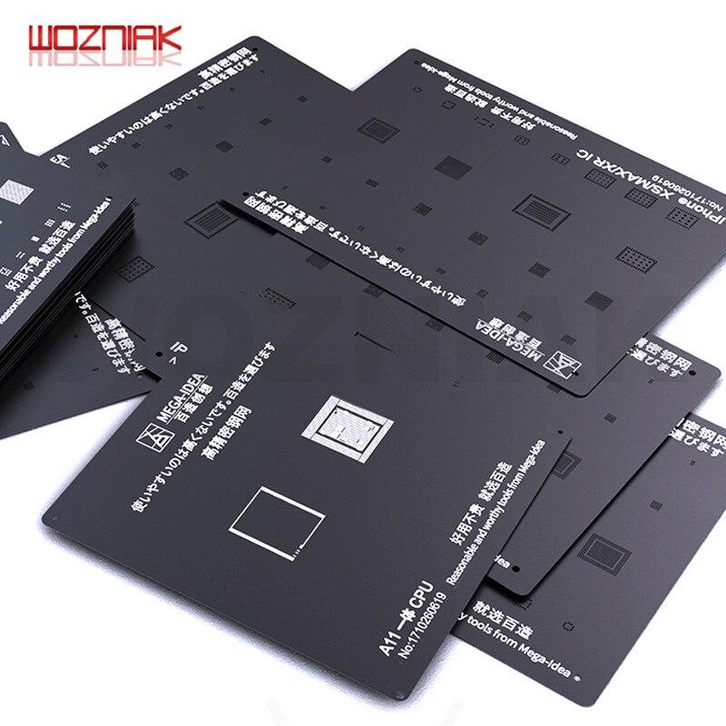 QIANLI Black Plant Tin Steel Mesh For IPHONE CPU A8 A9 A10 A11 A12 Tin Ball BGA Reballing Stencil Kit