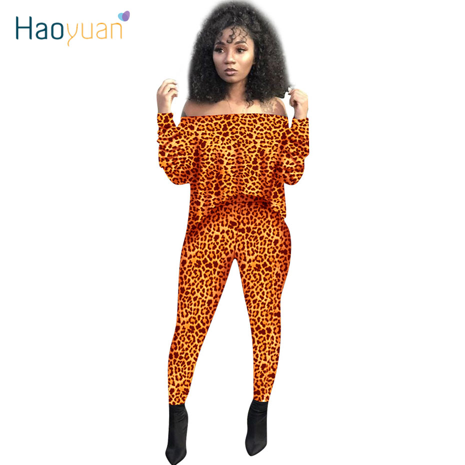 HAOYUAN Leopard 2 Piece Outfits For Women Fall Festival Clothing Long Sleeve Crop Top And Pant Sexy Club Two Piece Matching Sets