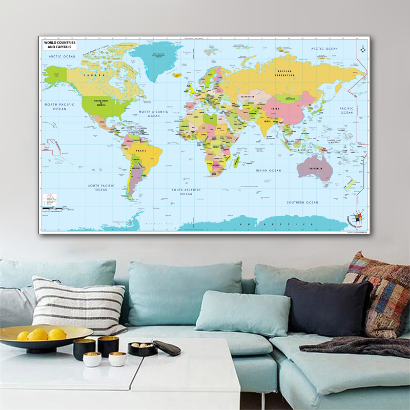 RELIABLI ART World Map Canvas Painting Wall Art Picture For Living Room Bedroom Kids Room Modern Decoration Home Decor No Frame
