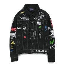 Мужская джинсовая куртка с принтом в стиле хип хоп, хлопковая Повседневная Уличная Осенняя новая джинсовая куртка, пальто для мужчин