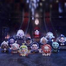 Pop mart caixa inteira crânio panda antigo castelo série coleção boneca collectible bonito ação kawaii animal brinquedo figuras