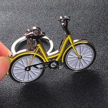 Darmowa wysyłka przez DHL 100 sztuk partia Metal żółty Mobile Bike breloki breloki rowerowe w kształcie stopu cynku niestandardowe LOGO tanie tanio Ze stopu cynku Unisex Brak ROUND TRENDY about 3*4 cm opp bag about 20g
