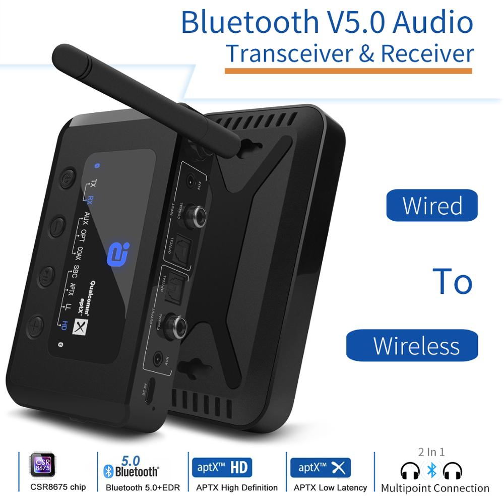 MR265 Bluetooth 5.0 HD Audio Receiver Transmitter AptX LL /HD 2-In-1 Audio Receiver Adapter For TV/Speakers Optical Coaxial 3.5m