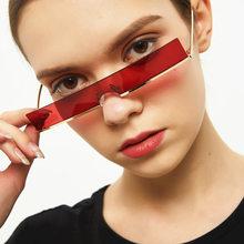 Occhiali da sole con montatura stretta metal 2021 occhiali da sole quadrati piccoli da donna di nuova tendenza punk forma concava europea e americana