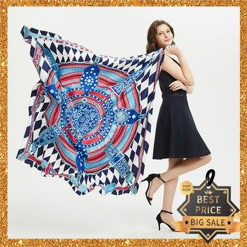 2020 New Print Women Big Scarf 130cm Square Pashmina Twill Silk Feeling Ladies Kerchief Luxury Scarves Hijab Fashion Shawl Wrap