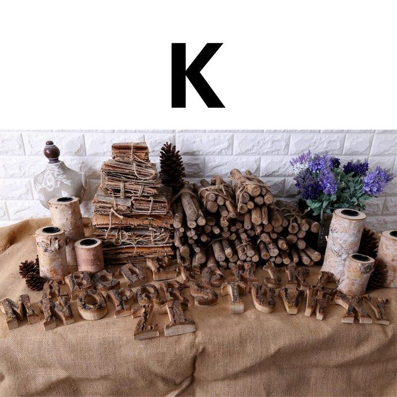 Вместе с коры твердой древесины Ретро Деревянный Английский алфавит номер для кафетерий украшение для дома, ресторана винтажная самодельная буква - Цвет: K