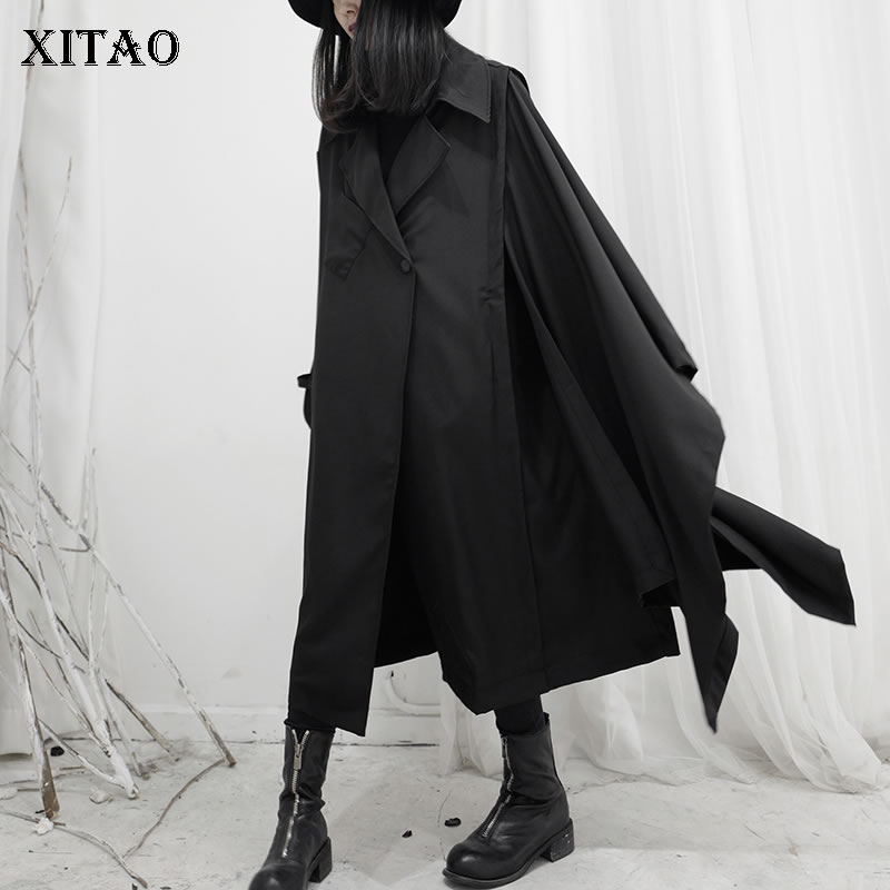 XITAO Wide Waist Black Trench Women Full Sleeve Minority Small Fresh 2020 Spring Single Button Casual Minority Coat DMY2561
