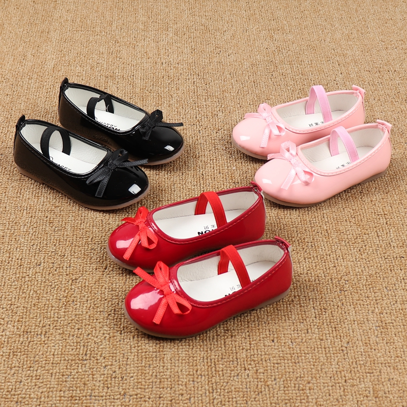 Autumn New Children's Leather Shoes Bows Performance Student Shoes Big Size Korean Girls Princess Shoes Flat With