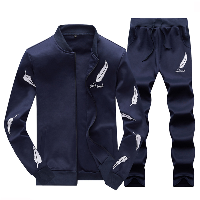 Coat Men Spring And Autumn Tops Sets Korean-style A Set Of Trend BOY'S Autumn & Winter Male New Style Hoodie Suit Set