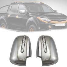 Car Rear View Mirror Cover with LED Lights Exterior Parts Accessories ABS for Mitsubishi L200 Triton 2016 2017