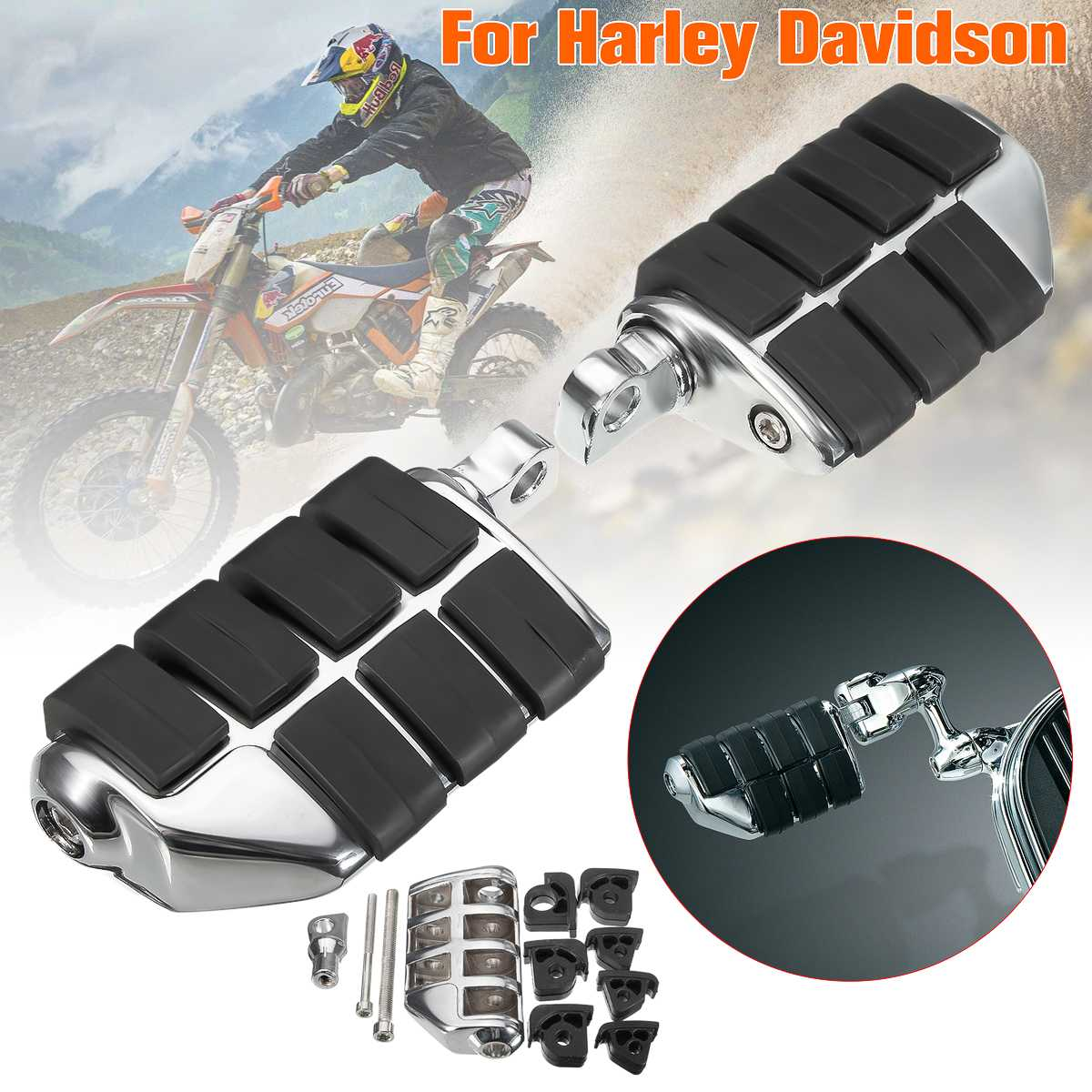 For Harley Sportster Davison SOFTAIL/DYNA 1 Pair Chrome Black Mount Rubber Motorcycle Front&Rear Footrest Foots Pegs Pedals