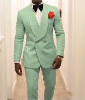 Latest Double Breasted Mint Green Paisley Groom Tuxedos Shawl Lapel Men Suits 2 pieces Wedding/Prom/Dinner Blazer