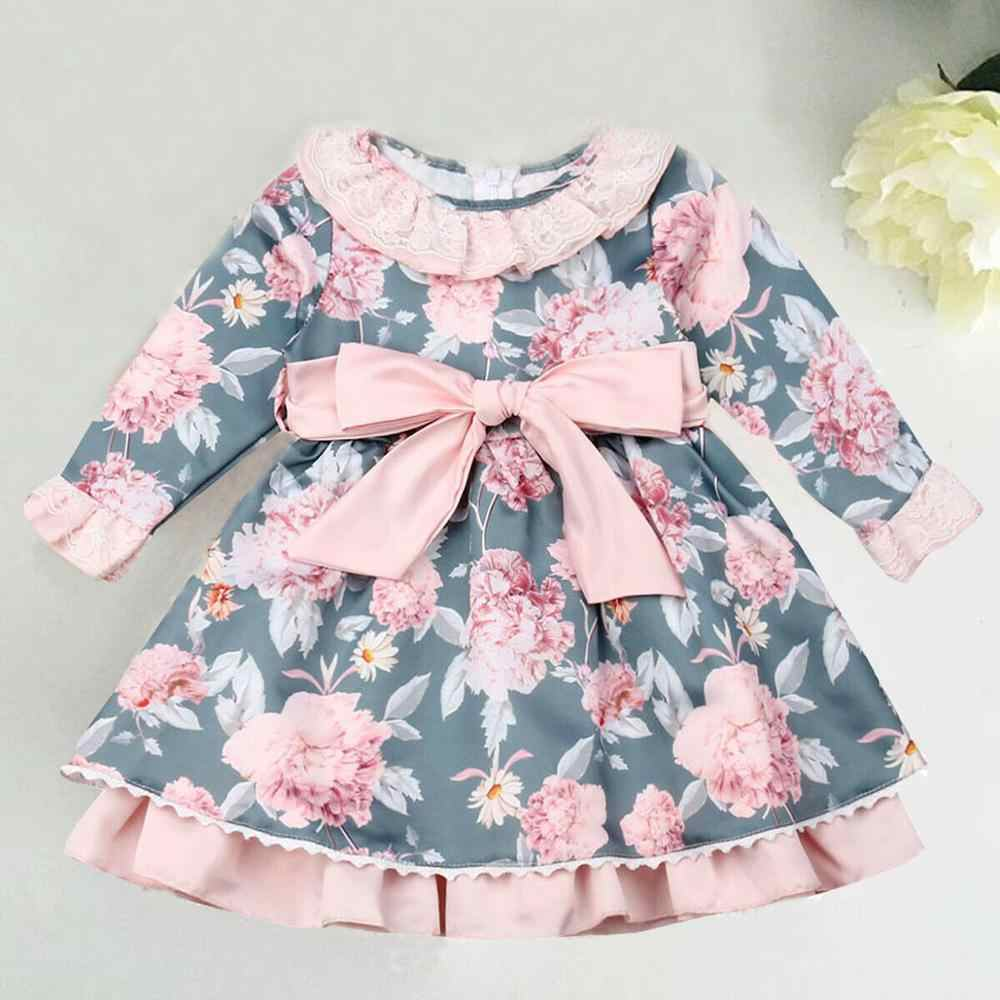 2019 New Princess Girl Floral Dress Toddler Kid Baby Girl Bowknot Flower Tutu Dress Party Dresses Clothes Autumn