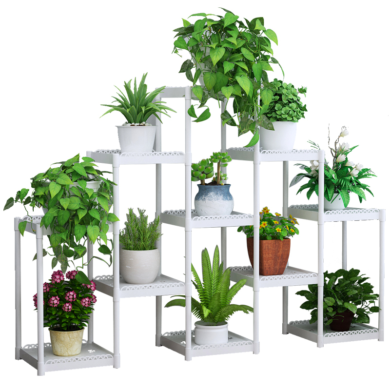 Flower Airs Multi-storey Indoor Balcony Ladder Type Flower Rack Green Radish Meat Flowerpot Frame Plastic Floating Window Shelf