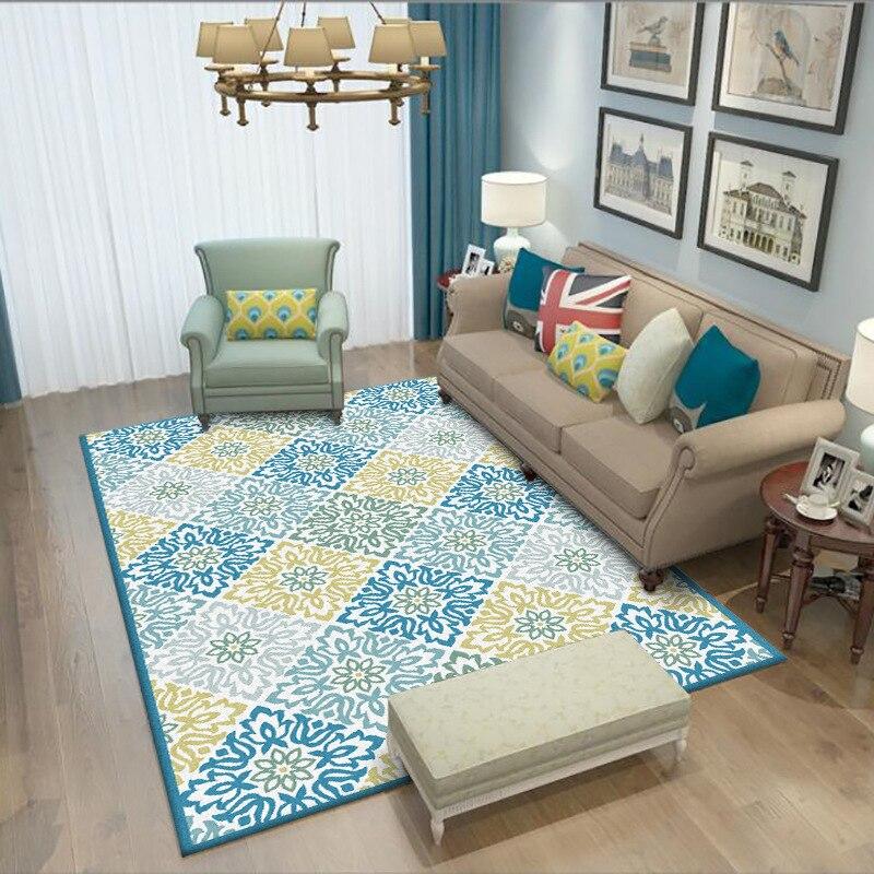 Style Pastoral américain bleu vert jaune motif grande taille 1.6x2.3m salon tapis en peluche antidérapant salle de bain tapis chambre tapis