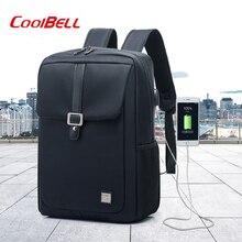 COOLBELL New Black Backpack School Bag USB Backpacks For 15.6 inch Laptop Notebook Backbag Travel Daypack Men Rucksack mochila стоимость