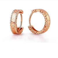 Solid 18K Rose Gold Earrings Women AU750 Gold Hoop Earrings 10MM Circle