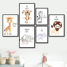 Giraffe Monkey Zebra Elephant Lion Cartoon Animal Nordic Posters And Prints Wall Art Canvas Painting Pictures For Kids Room