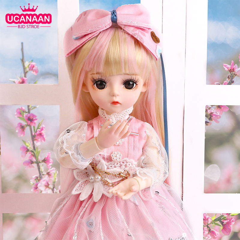 UCanaan BJD Doll 1/6 SD Doll 18 Ball Jointed Dolls With Full Outfits Dress Wig Headdress Shoes Makeup Girls DIY Dress UP Toys