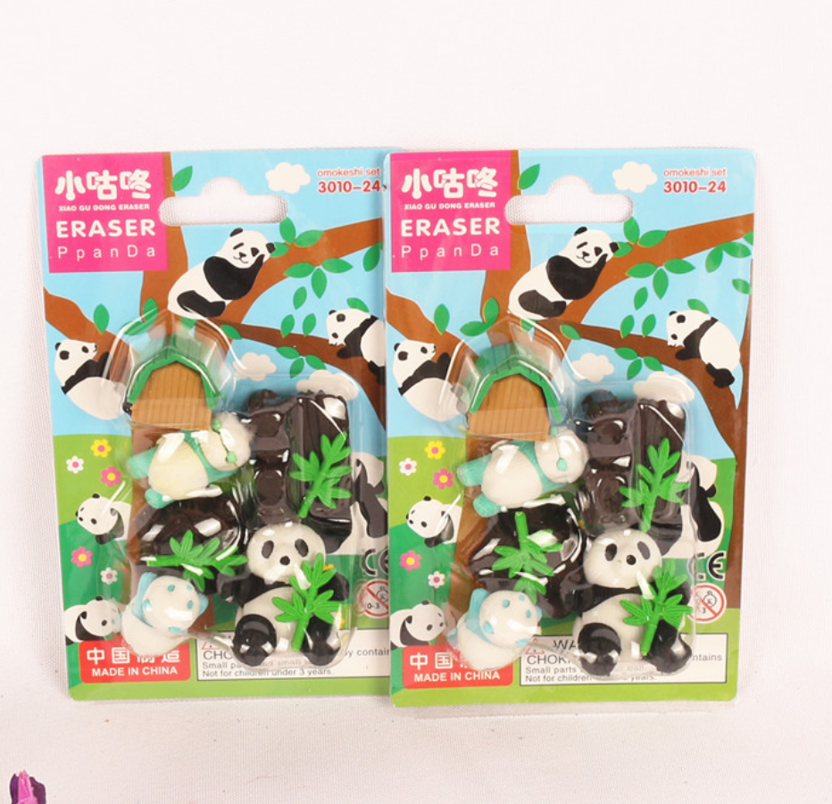 Eraser Set Cute Panda House Plant Writing Drawing Rubber Pencil Erasers Stationery For Kids Gifts School Supplies Students Prize