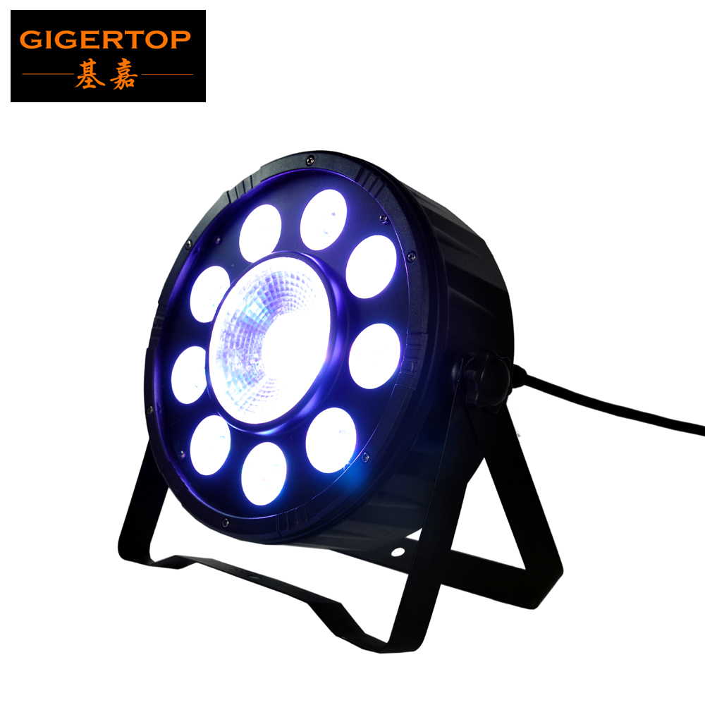 TIPTOP Stage Light 9x3W + 1x30W High Power TRI Colour Flat LED RGB Par Light in Black Housing 25 Beam Angle Silent Working