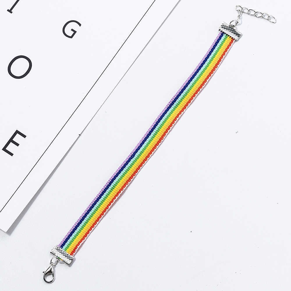 Hot Sale 1PC Fashion Rope Bracelet Men Lesbian Pride Rainbow Charms Bracelet Gift For Gay Jewelry Lover Couple Pulsera Hombre