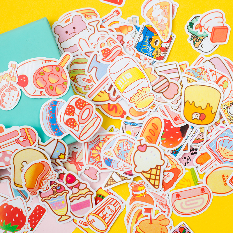 200sheet/lot Kawaii Stationery Stickers Cartoon Snacks Handmade Diary Decorative Mobile Stickers Scrapbooking DIY Craft Stickers