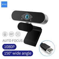 Xiaovv-cámara web USB de 1080P, ángulo ultraancho, enfoque automático con micrófono incorporado para ordenador portátil, PC, enseñanza en línea