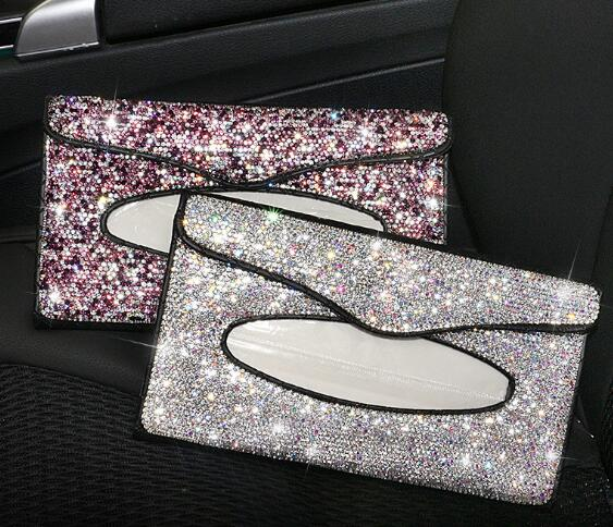 Bling Rhinestone Car Auto Sun Visor Tissue Box Leather Holder Paper Napkin Clip