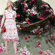 1meter mesh lace fabric Three-dimensional multi-color embroidery flower clothing High-grade dress skirt