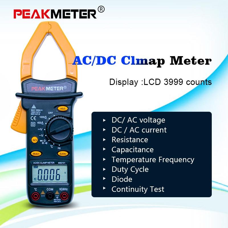 Aletler'ten Multimetreler'de PEAKMETER MS2101 dijital pens metre AC DC otomatik aralığı sıcaklık ölçer Buzzer veri tutma temassız multimetre LCD 3999 sayar title=