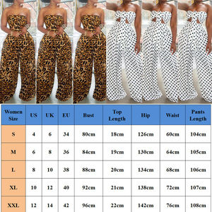 Image 5 - 2 Piece Outfits for Women Polka Dot Knot Front Strapless Bandeau Crop Top Wide Leg Long Pants Summer Beach Jumpsuits