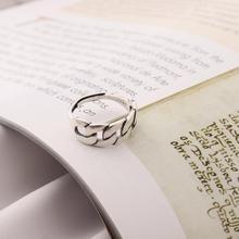 Ckysee elegante anillo trenzado de Plata de Ley 925 Anillos de Compromiso de boda huecos simples de plata para mujeres y niñas regalo