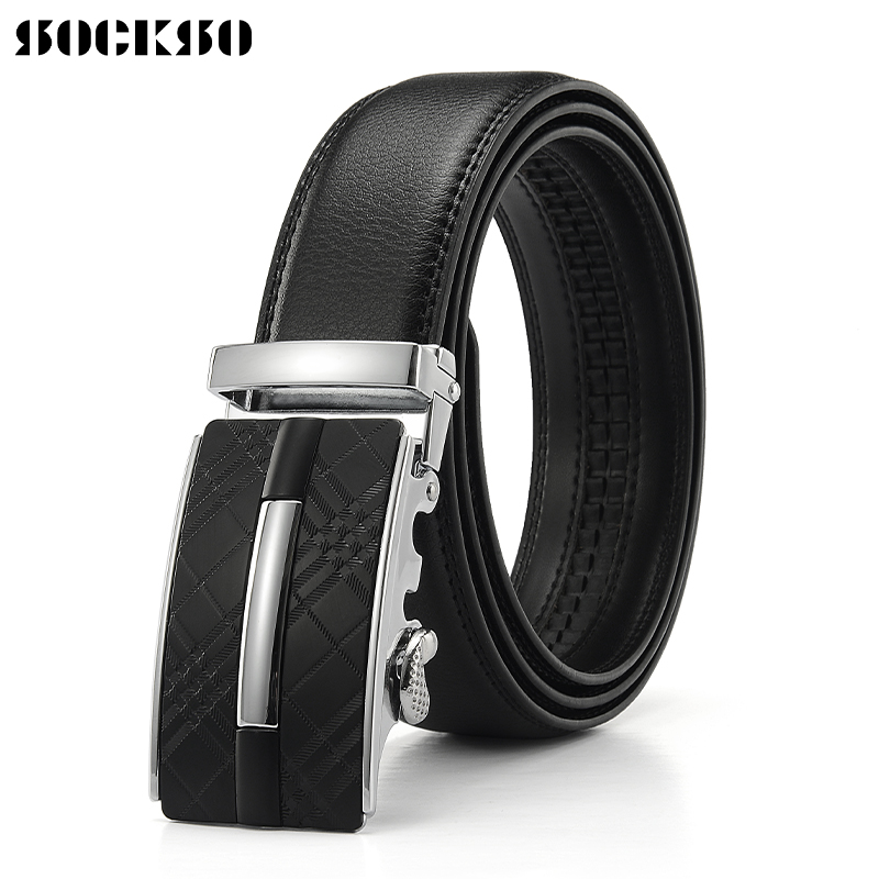 Mens Fashion Casual Classic Belt Leather Automatic Buckle with Ratchet Buckle