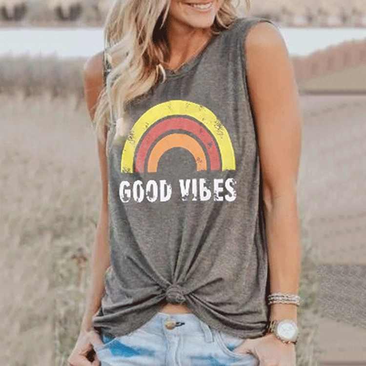 Модная Летняя Повседневная Уличная Свободная майка без рукавов с круглым вырезом и надписью «GOOD VIBES» для женщин и девочек