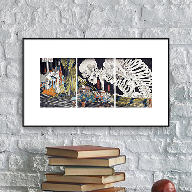 Japanese Ukiyo-e Samurai Canvas Painting Skull Landscape Posters Wall Art Canvas Pictures For Living Room